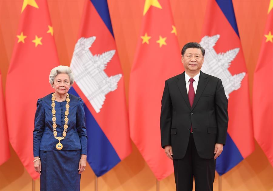 CHINA-BEIJING-XI JINPING-CAMBODIAN QUEEN MOTHER-AWARDING CEREMONY (CN)