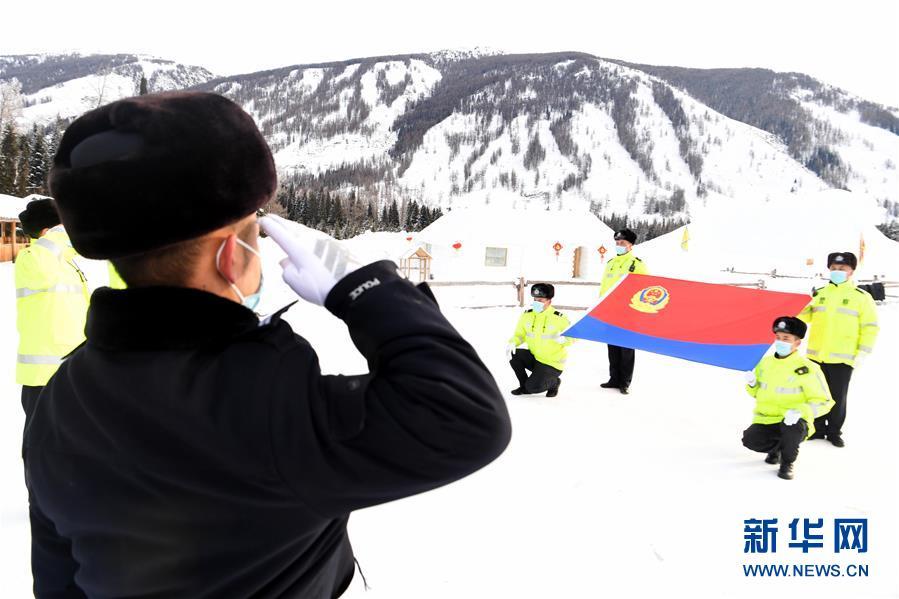(社会)(1)新疆阿勒泰:迎接首个中国人民警察节