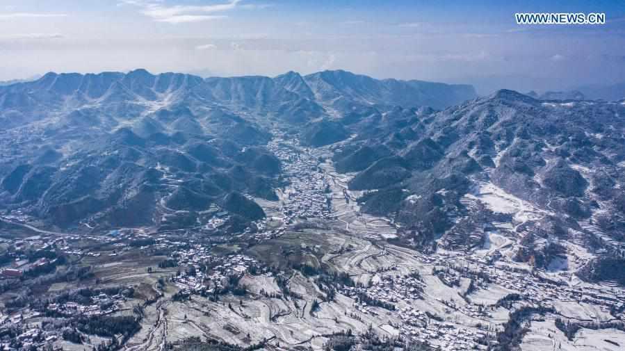 Snow scenery in Pingdi of Panzhou in China's Guizhou