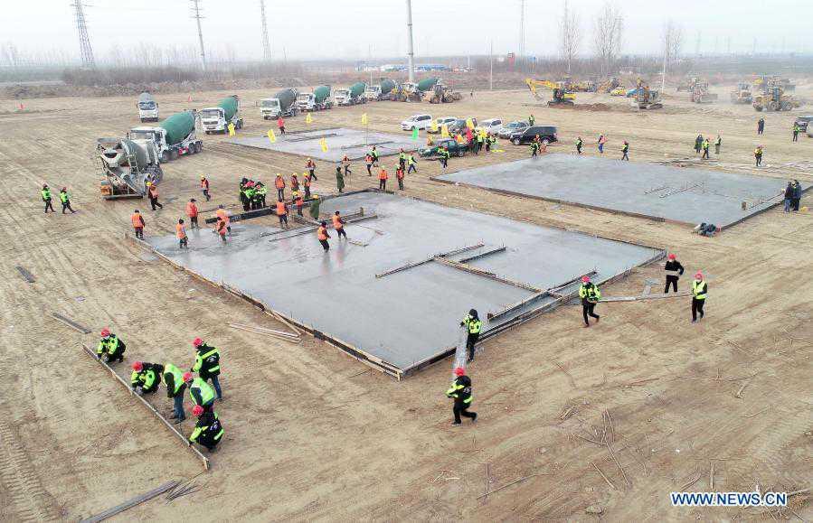 Construction workers start building centralized medical observation center in Shijiazhuang