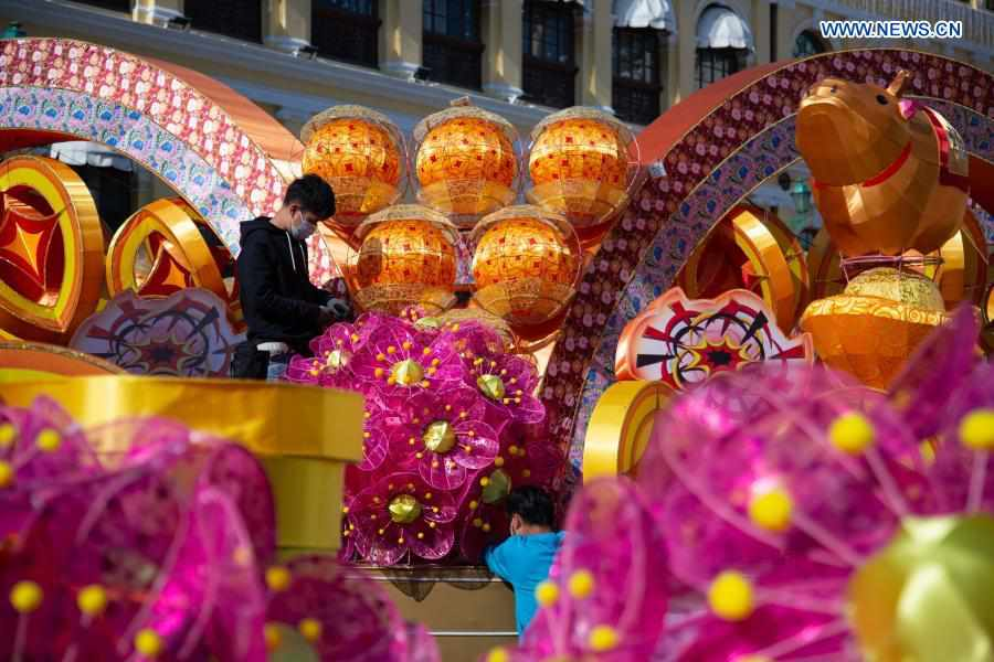 Decorations set up to greet upcoming Chinese Lunar New Year in Macao