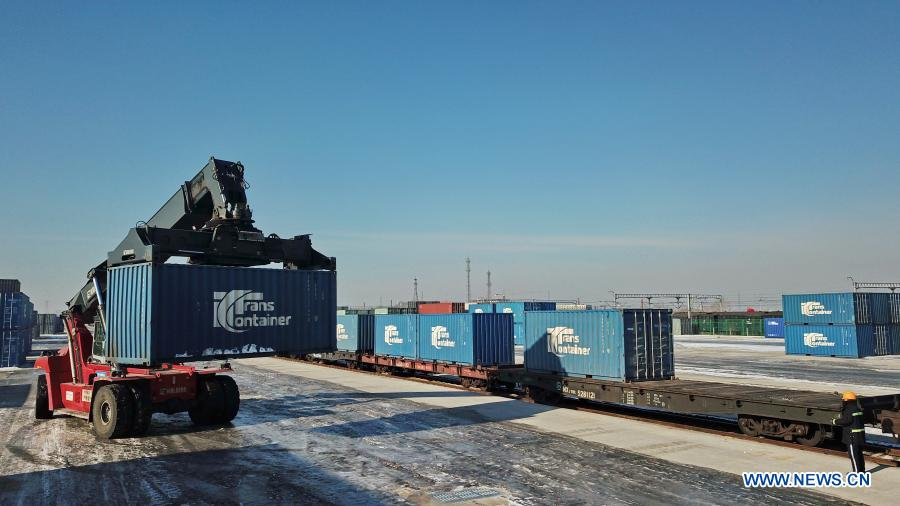 597 containers of goods shipped from China port to Europe in 2021