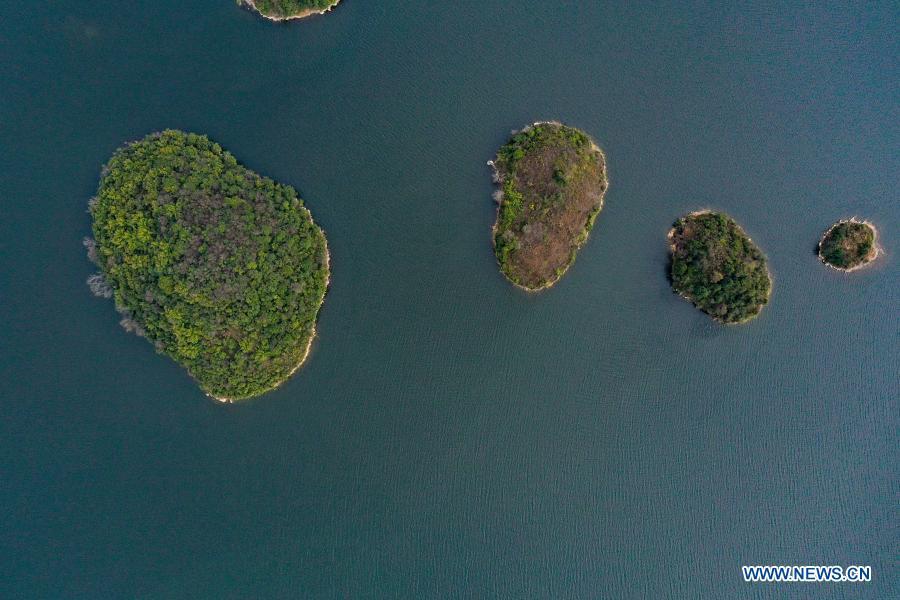 View of Aha Lake National Wetland Park in Guizhou