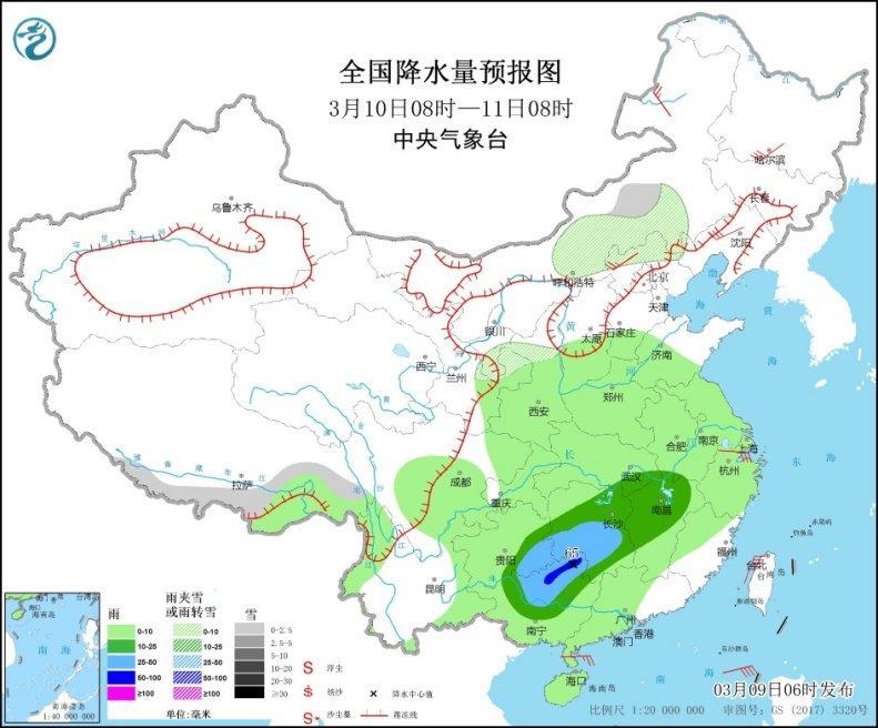 将来三天南边多阴雨华北及其以南地域气温迟钝回升