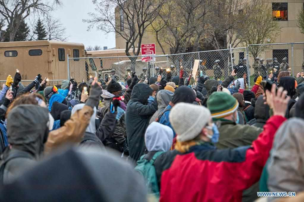 Protesters gather outside Brooklyn Center Police Department in Minnesota, U.S.