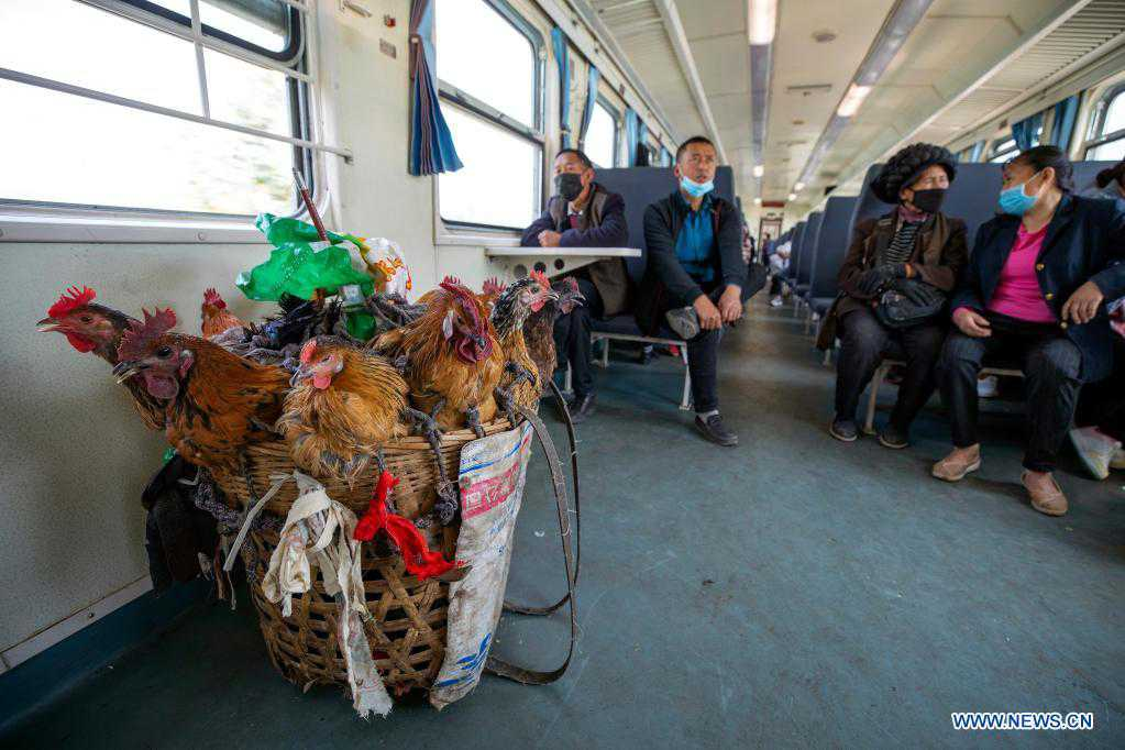 Slow-speed trains run through Daliang Mountains in SW China