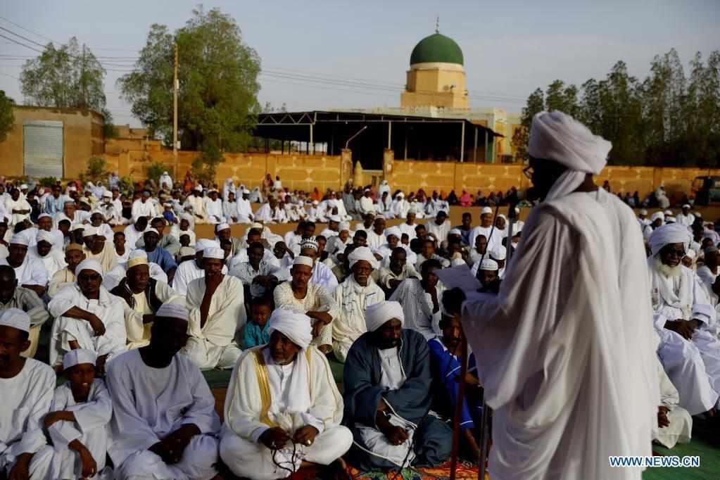 People perform Eid Al-Fitr prayer in Khartoum, Sudan