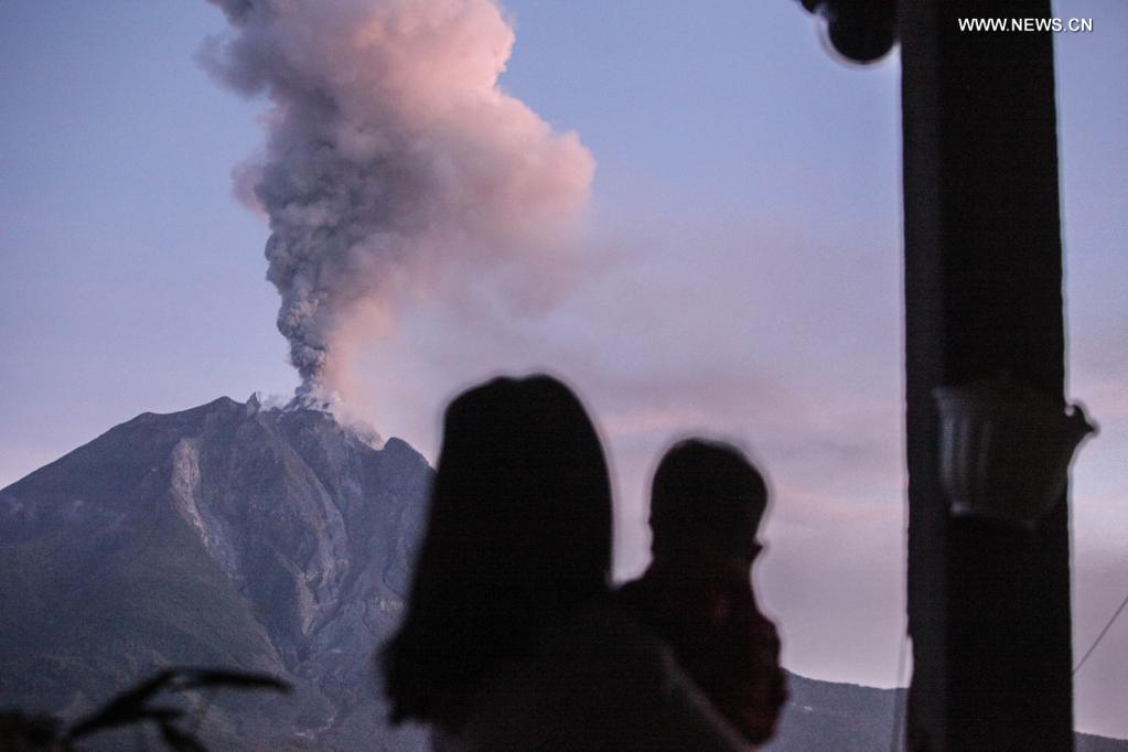 Indonesia's Mount Sinabung spews volcanic materials