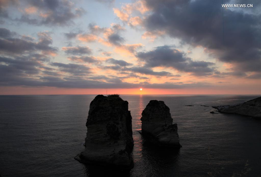 Sunset scenery at Raouche Rocks in Beirut