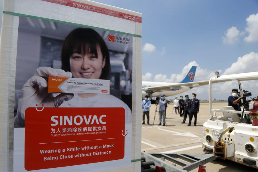 4th batch of China's Sinovac COVID-19 vaccine arrives in Cambodia