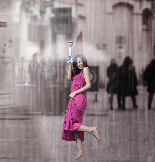 """大学生设计""""空气雨伞"""" 只有伞柄靠气流挡雨"""