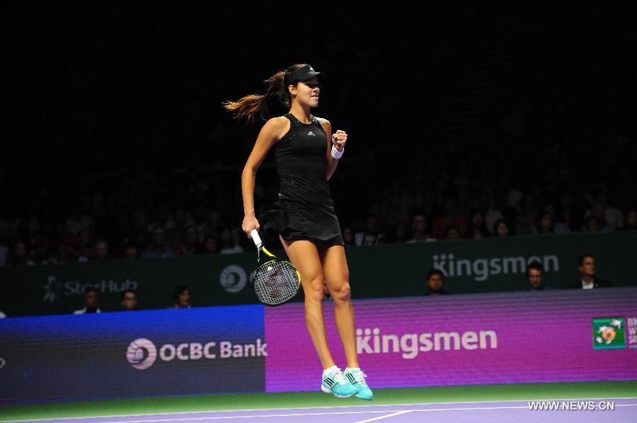 Serbia's Ivanovic won 2-0 over Canada's Bouchard at the Singapore indoor stadium during WTA Finals match on Oct 22, 2014.