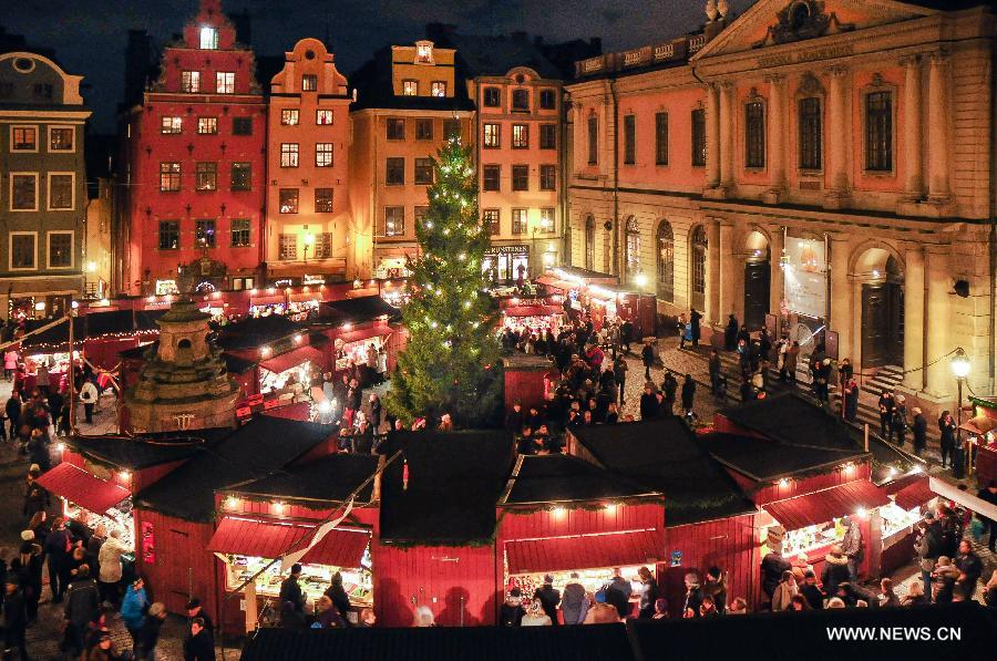 people visit christmas market at old city in stockholm sweden nov 30