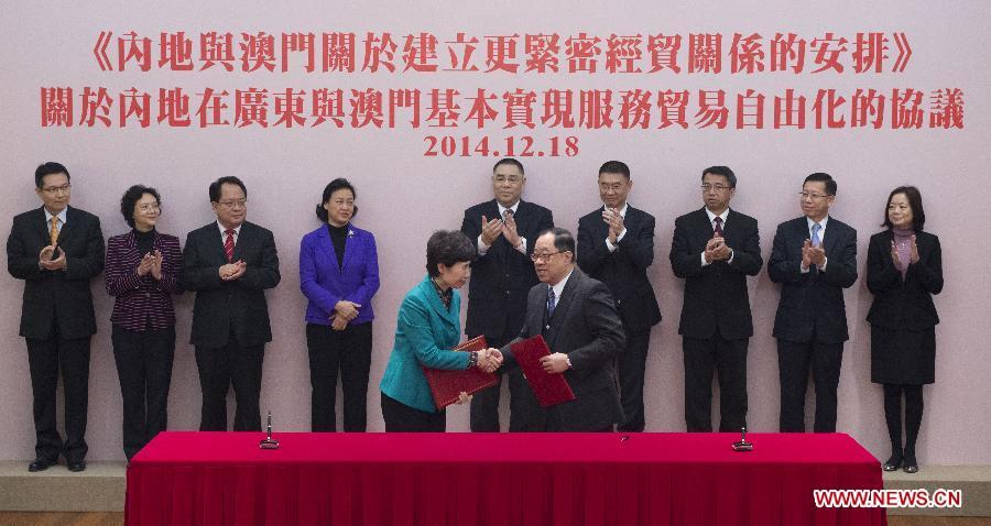 CHINA-MACAO-SERVICE TRADE-SIGNING (CN)