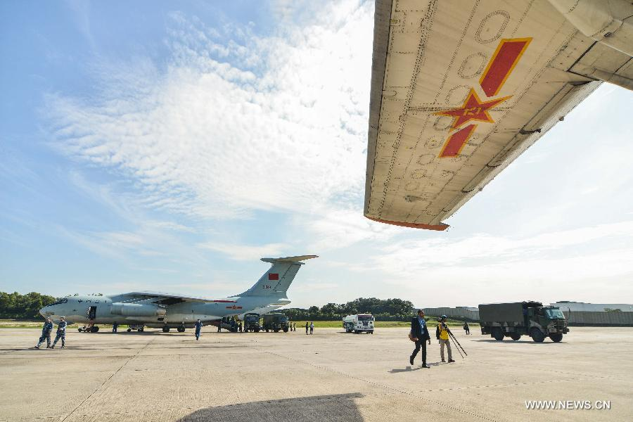 The relief goods offered by the People's Liberation Army of China arrived here Monday.