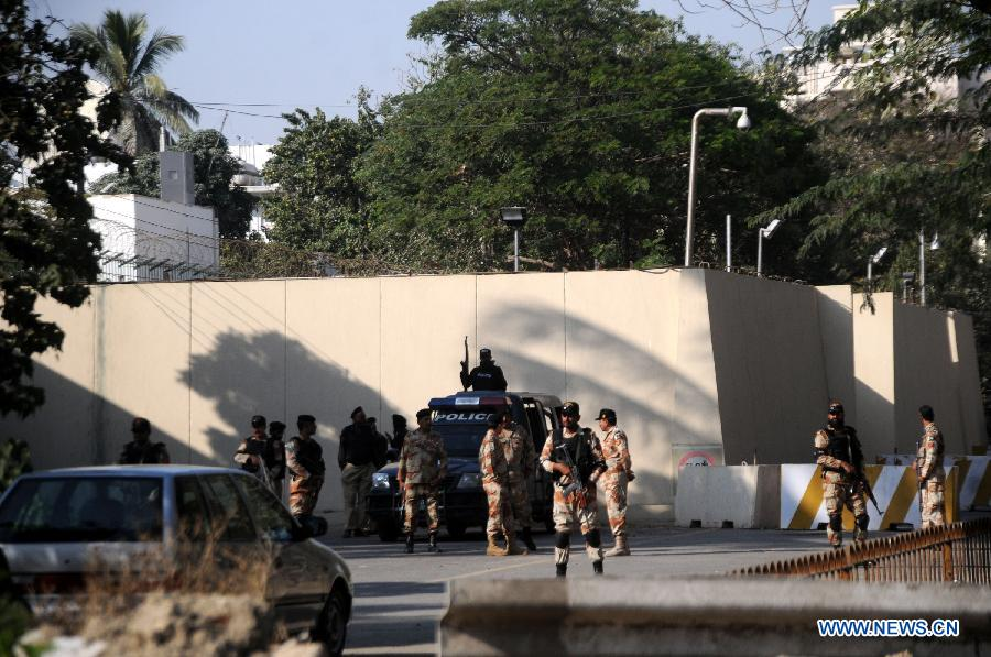 At least six people were injured on Friday afternoon in clashes between police and protesters as the latter marched toward the French Consulate against the printing of blasphemous caricatures by French journal Charlie Hebdo in Pakistan's southern port city of Karachi, local media reported.