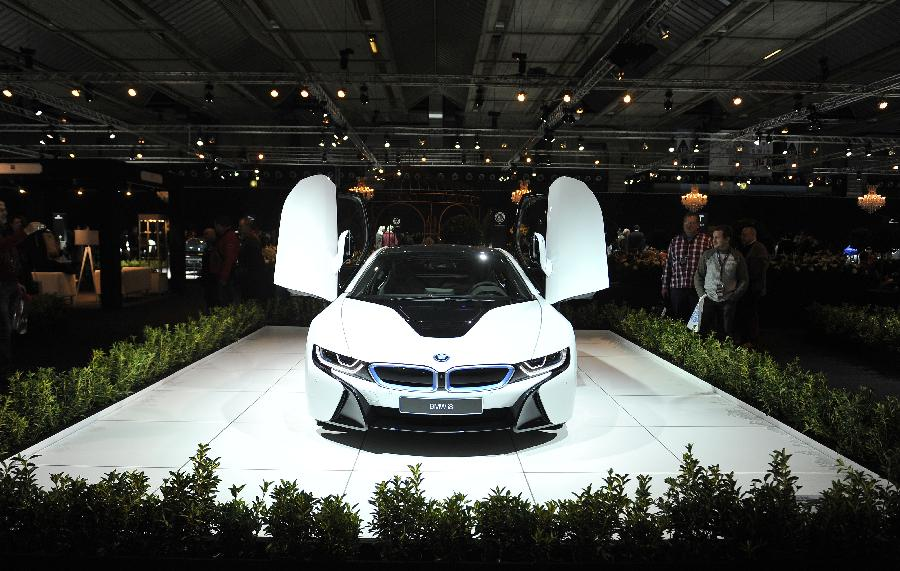 Photo taken on Jan. 23, 2015 shows a BMW i8 at Brussels Motor Show in Brussels, Belgium.