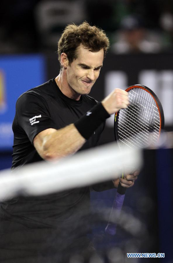 Andy Murray of Britain celebrates during his men's singles fourth round match against Grigor Dimitrov of Bulgaria on day seven of 2015 Australian Open tennis tournament at Melbourne Park in Melbourne, Australia, Jan. 25, 2015. Murray won 3-1.