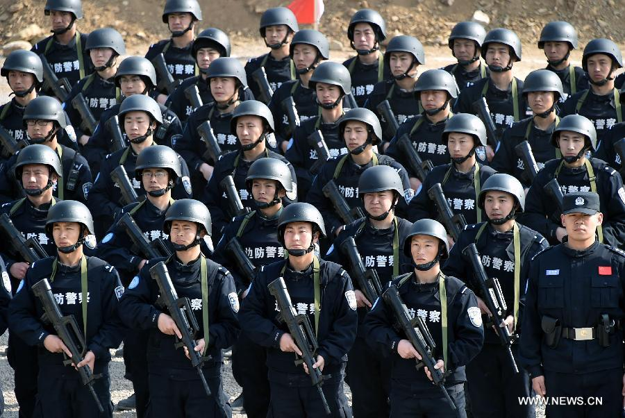 A total of 140 members of Chinese riot squad, who will start off in March for an eight-month United Nations peace-keeping mission in Liberia, took part in a drill in Jinan on Monday.