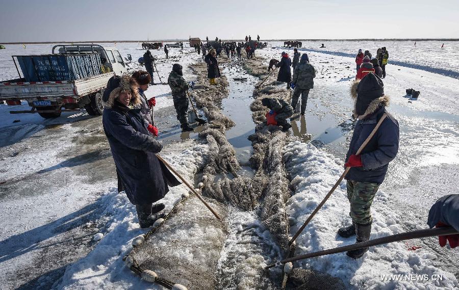 Ice fishing event held in ne china 39 s chagan lake 4 for Ice fishing nebraska