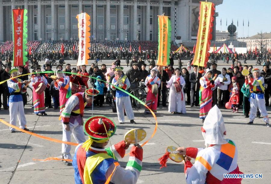 Photo provided by Korean Central News Agency (KCNA) on Feb. 19, 2015 shows people performing traditional dance in Pyongyang, the Democratic People's Republic of Korea (DPRK). People celebrated the Lunar New Year and enjoyed their holiday in Pyongyang.