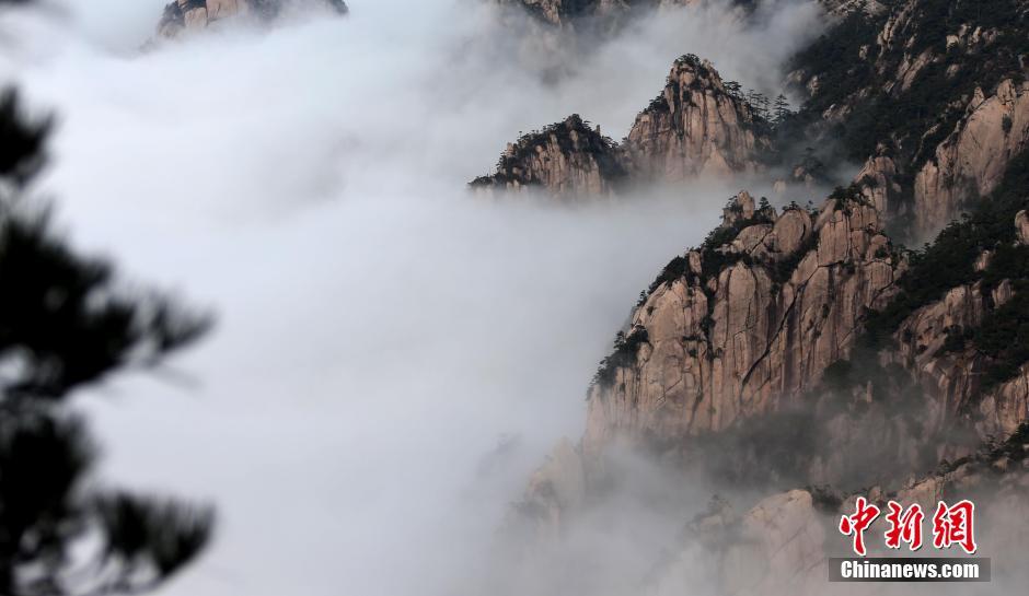 安徽黄山现羊年首场壮观云海【2】