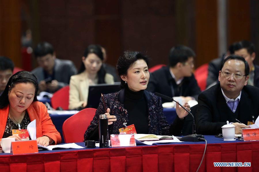 Zhou Tao, a member of the 12th National Committee of the Chinese People's Political Consultative Conference (CPPCC), explains his idea of promoting cultural development during a panel discussion for the third session of the 12th CPPCC National Committee in Beijing, capital of China,March 7, 2015. (Xinhua/Liu Weibing)