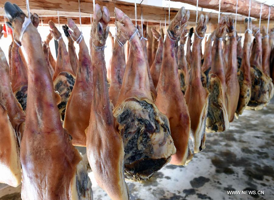 Rows of cured hams being dried are seen at Anzhao Village of Jingdong County, southwest China's Yunnan Province, June 2, 2015