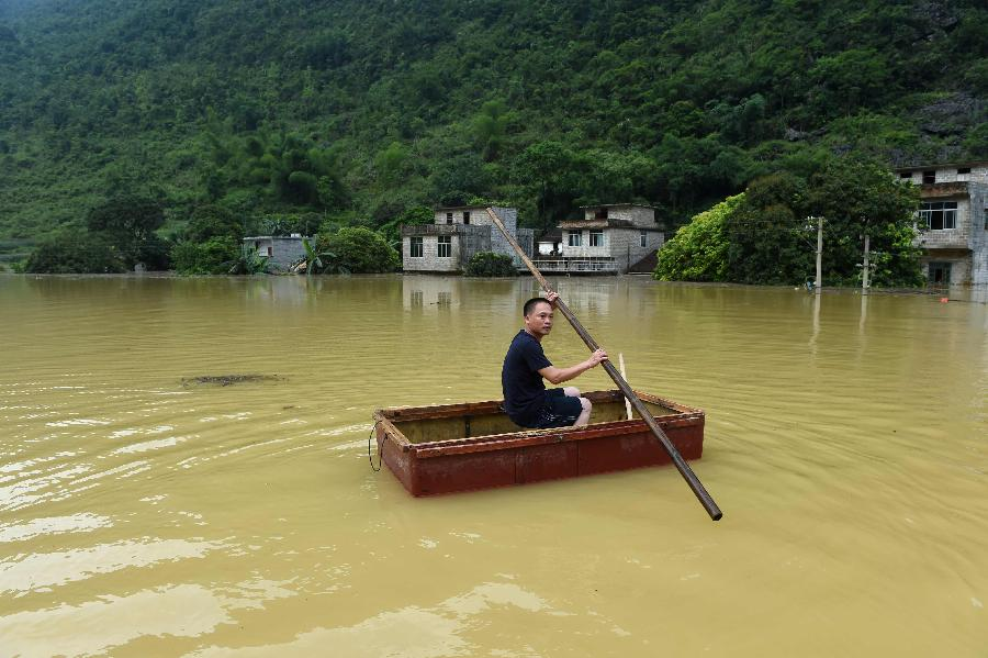 Heavy rain has battered Guangxi since Thursday, leaving three dead and five others missing.