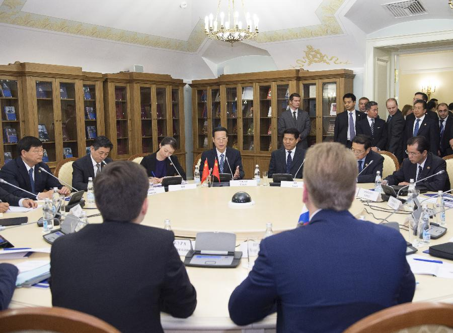RUSSIA-CHINA-ZHANG GAOLI-IGOR SHUVALOV-INVESTMENT-MEETING