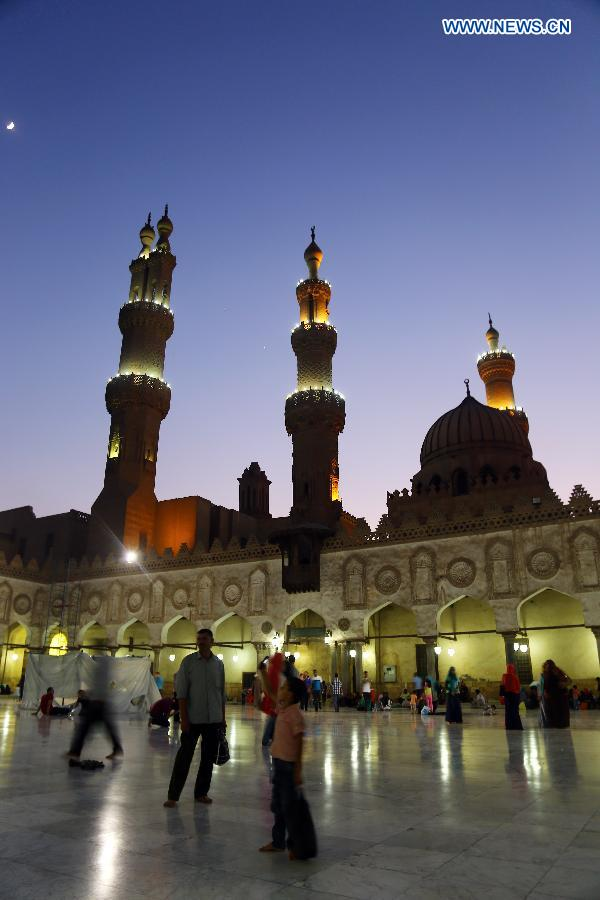 Egyptians gather and pray at Al-Azhar Mosque in Cairo, Egypt, on June 22, 2015.