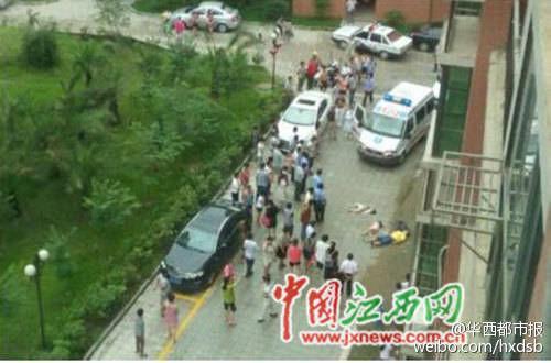 坠楼现场,警方已经进行了现场封锁。