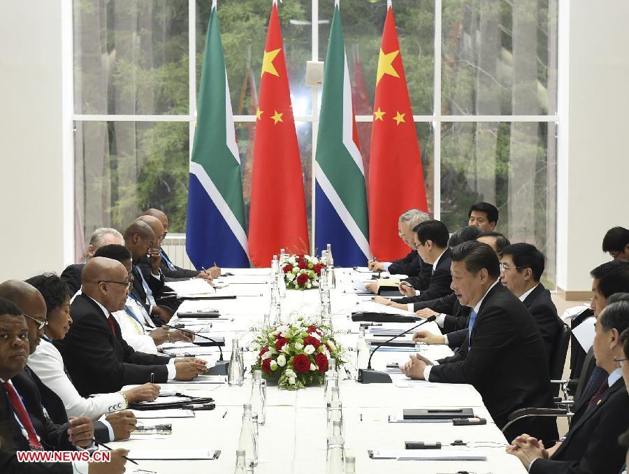 RUSSIA-UFA-CHINA-XI JINPING-JACOB ZUMA-MEETING