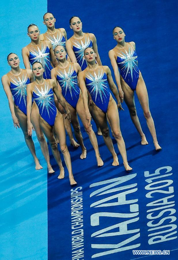 Team Russia competes during team free final of the the synchonised swimming at the FINA World Championships in Kazan, Russia, July 30, 2015.