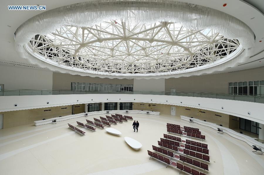 Photo taken on Aug. 18, 2015 shows the service hall of the Lanzhou New Area Free Trade Zone in Lanzhou, capital of northwest China's Gansu Province, Aug. 18, 2015.