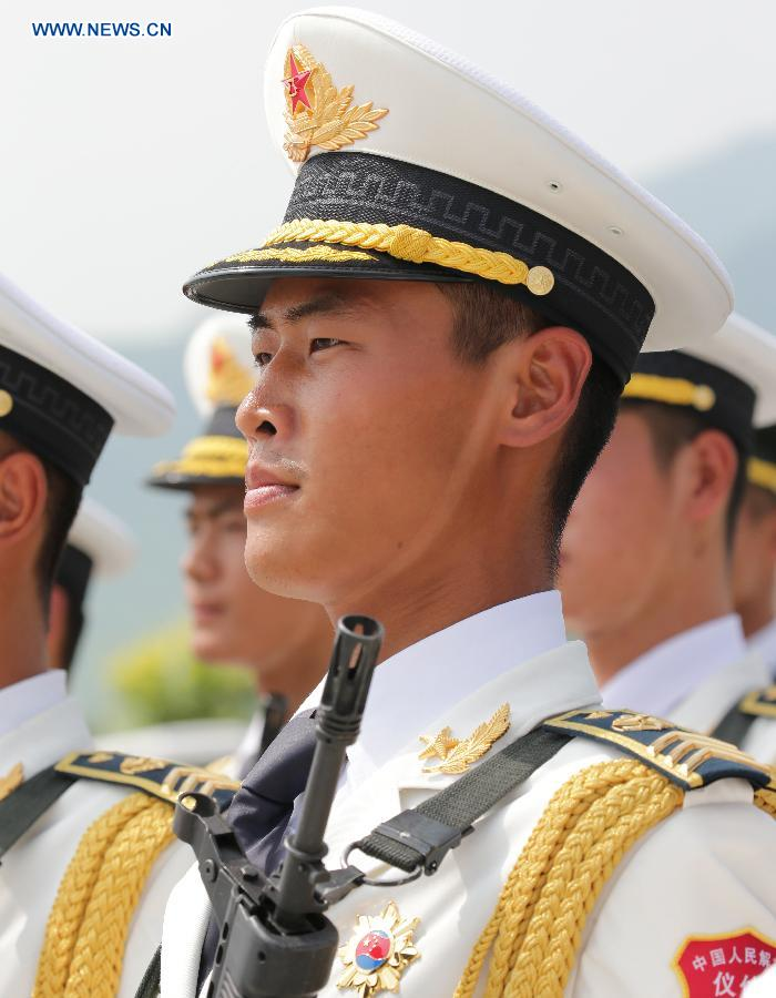 Photo taken on Aug. 19, 2015 shows soldiers participating in training for the Sept. 3 military parade at the parade training base in Beijing.