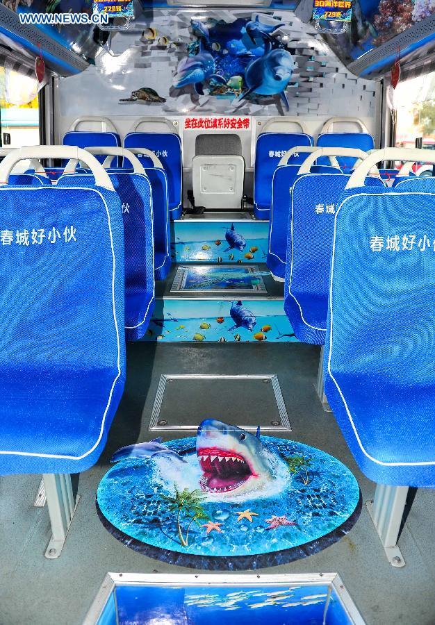 Photo taken on Sept. 14, 2015 shows an ocean theme bus in Changchun, northeast China's Jilin Province.