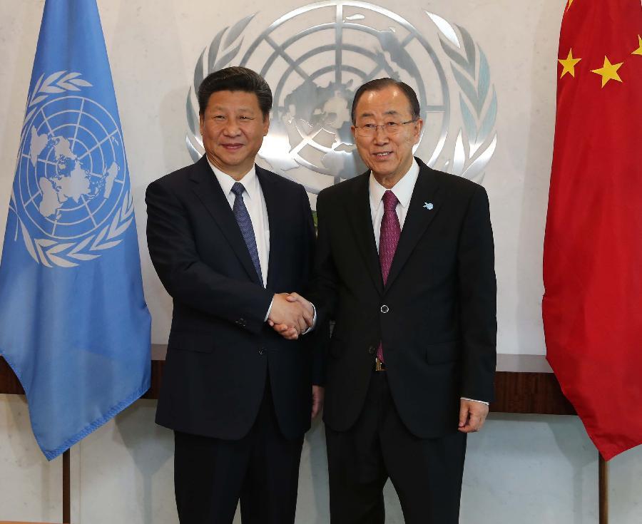 UN-NEW YORK-CHINA-XI JINPING-BAN KI-MOON-MEETING