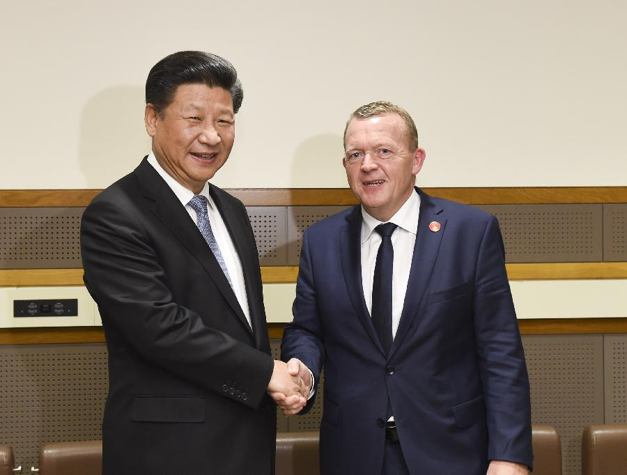 US-NEW YORK-CHINA-XI JINPING-DANISH PM-MEETING