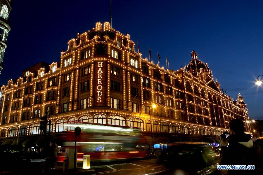 Photo taken on Nov. 19, 2014 shows the Harrods in Knightsbridge, London.