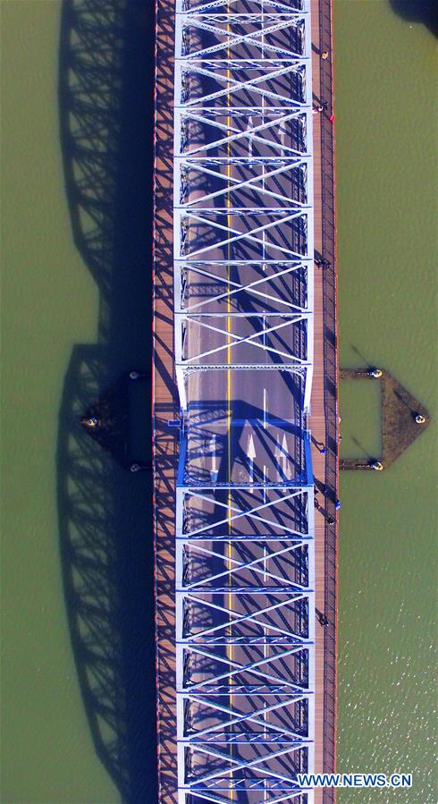 An aerial photo taken on Dec. 16, 2015 shows the Waibaidu bridge in Shanghai, east China.