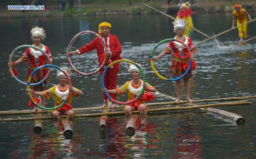 CHINA-GUIZHOU-BAMBOO DRIFTING-NEW YEAR CELEBRATION (CN)