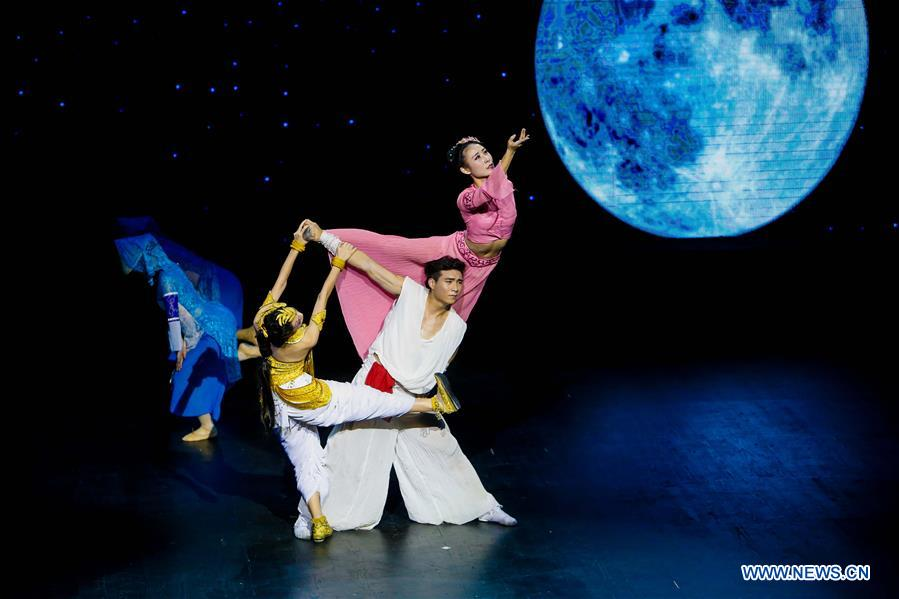 Artists perform in a traditional Chinese dance drama entitled 'The Silk Road on the Sea', in Brussels, capital of Belgium, Jan. 26, 2016.