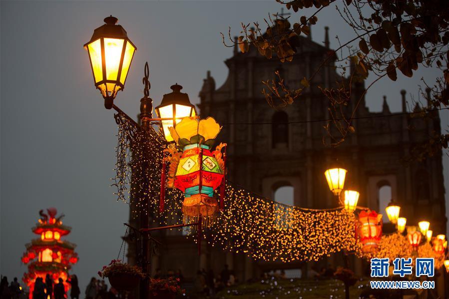 (XHDW)(1)澳门农历新年灯饰举行亮灯仪式