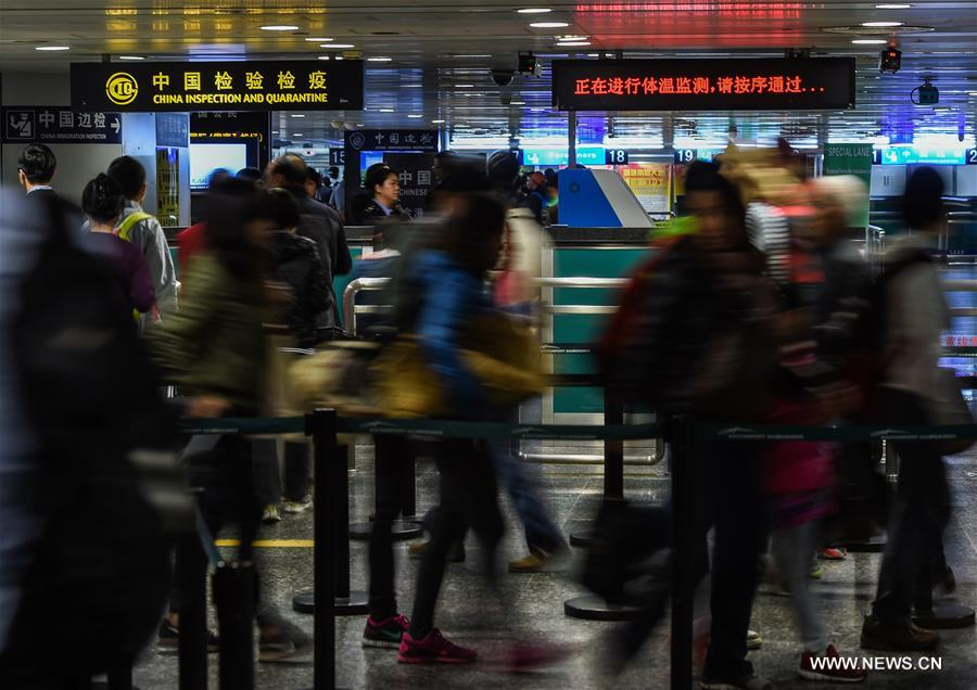 Guangdong's inspection and quarantine administration has strengthened monitoring of body temperature on passengers.