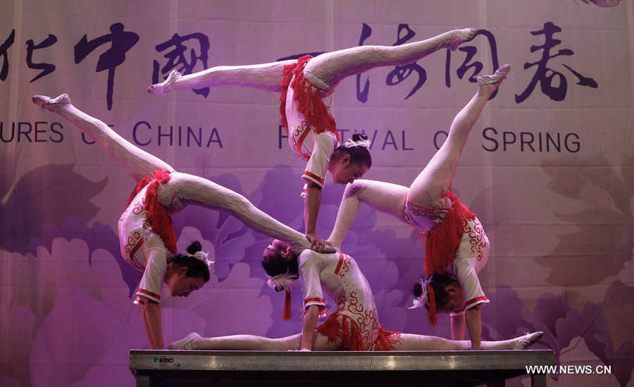 Acrobats perform during the 'Cultures of China, Festival of Spring' Gala in Luxemburg, on Feb. 23, 2016