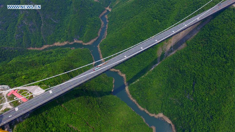 This aerial photo taken on May 13, 2016 shows the Siduhe Bridge on the Shanghai-Chongqing Highway in Yesanguan Town of Badong County in Enshi Tujia and Miao Autonomous Prefecture, central China's Hubei Province.