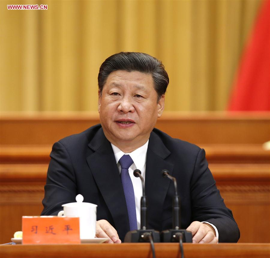 Chinese President Xi Jinping addresses an event conflating the national conference on science and technology, the biennial conference of the country's two top think tanks, the Chinese Academy of Sciences and Chinese Academy of Engineering, and the national congress of the China Association for Science and Technology, in Beijing, capital of China, May 30, 2016.