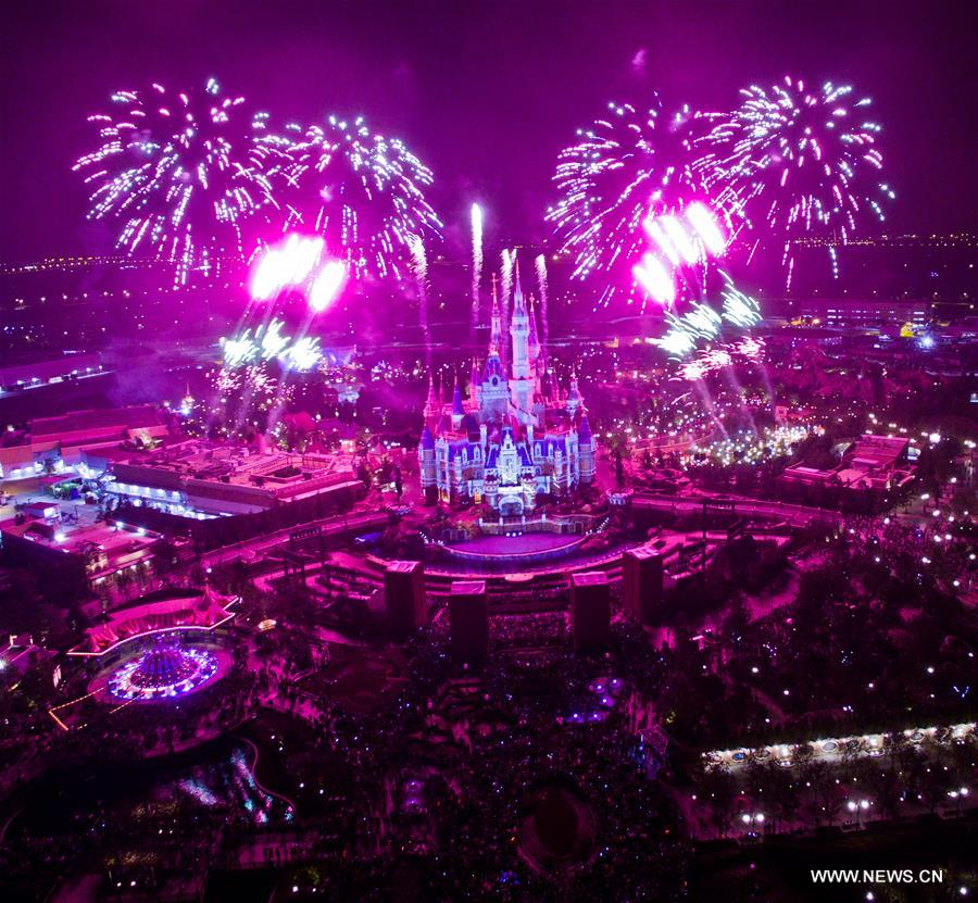 Firework show seen at Shanghai Disney Resort