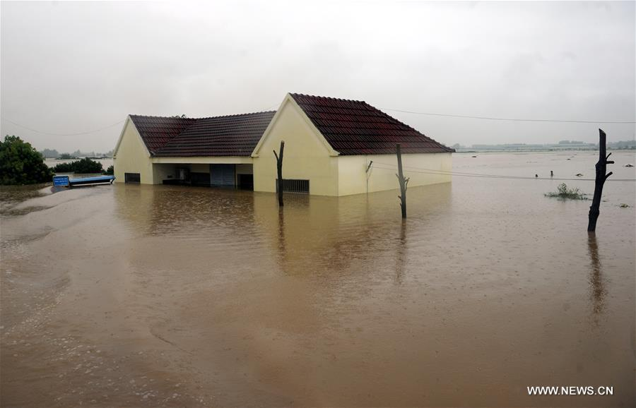 Torrential rainfall in Shucheng since June 30 and rain-triggered dike breaches have affected 300,000 people, destroyed 370,000 mu (about 24,667 hectares) of crops and forced 44,870 to relocate